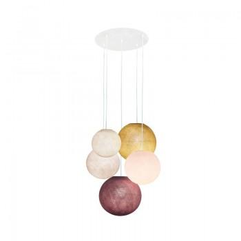 Ceiling fixture 5 ecru-sugared almond-linen-mustard-old pink globes - Plafonnier 5 - La Case de Cousin Paul