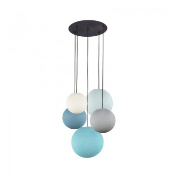 Ceiling fixture 5 ivory-pearl grey-denim-azure-aqua globes - Plafonnier 5 - La Case de Cousin Paul