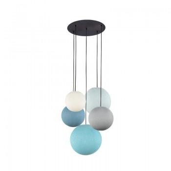 Lámpara de techo 5 globos marfil-gris perla-vaquera-azul-aqua - Plafonnier 5 - La Case de Cousin Paul