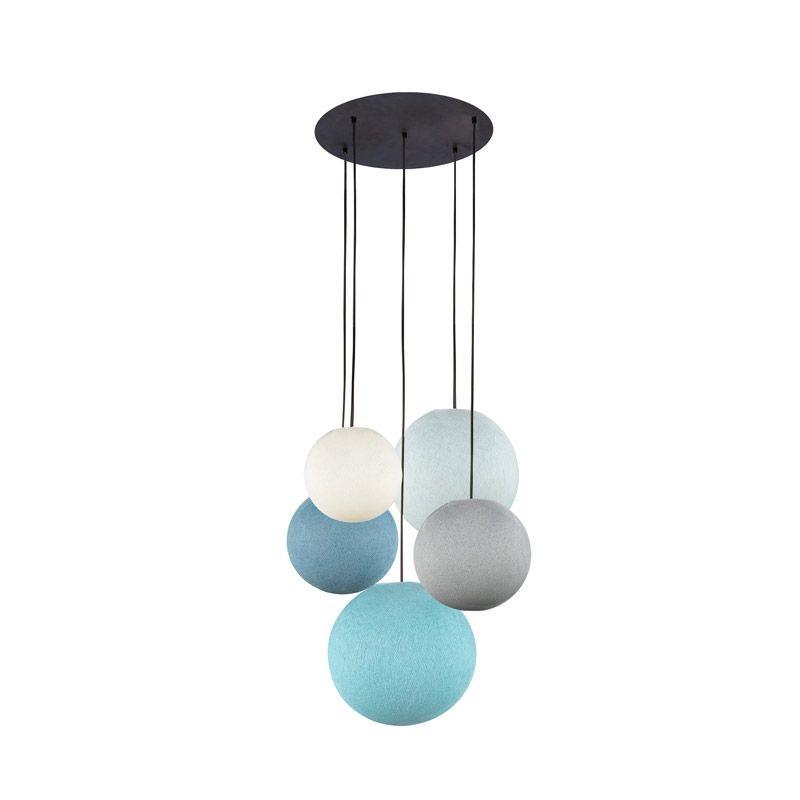 Plafondbevestiging 5 ballampen ivoor-parelgrijs-denim-azuurblauw-aqua - Plafonnier 5 - La Case de Cousin Paul