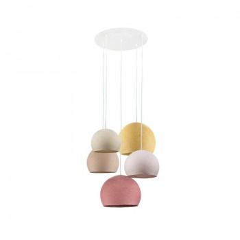 Lámpara de techo 5 cúpulas crudo-peladilla-lino-mostaza-rosa viejo - Plafonnier 5 - La Case de Cousin Paul