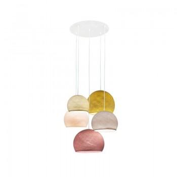 Ceiling fixture 5 ecru-sugared almond-linen-mustard-old pink cupolas - Plafonnier 5 - La Case de Cousin Paul