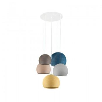 Plafondbevestiging 5 koepellampen grafiet-perlgrau-linnen-eendenblauw-mosterd - Plafonnier 5 - La Case de Cousin Paul