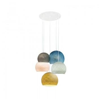Ceiling fixture 5 anthracite-pearl grey-linen-duck blue-mustard cupolas - Plafonnier 5 - La Case de Cousin Paul