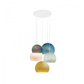 Lámpara de techo 5 cúpulas grafito-gris perla-lino-azul pato-mostaza - Lámpara de techo 5 - La Case de Cousin Paul