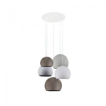 Lámpara de techo 5 cúpulas grafito-blanco-guijarro-grafito-gris perla - Plafonnier 5 - La Case de Cousin Paul