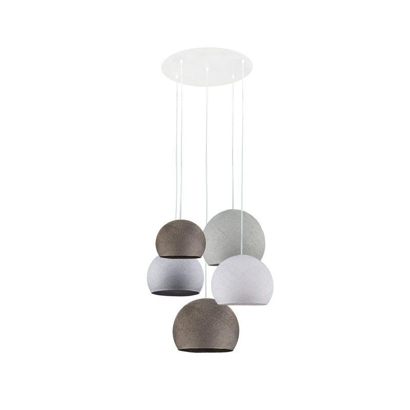 Plafondbevestiging 5 koepellampen grafiet-wit-kei-grafiet-perlgrau - Home - La Case de Cousin Paul