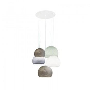 Lámpara de techo 5 cúpulas grafito-blanco-guijarro-grafito-gris perla - Lámpara de techo 5 - La Case de Cousin Paul