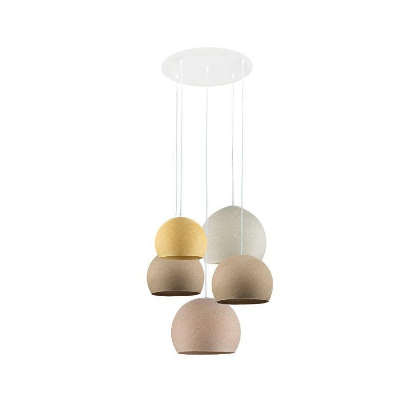 Plafondbevestiging 5 koepellampen senf-zand-zand-ivoor-linnen - Plafonnier 5 - La Case de Cousin Paul