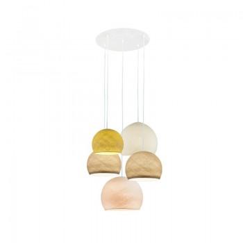 Deckenaufhängung 5 Kuppeln senf-sandfarben-sandfarben-elfenbein-leinen - Deckenleuchte 5 - La Case de Cousin Paul