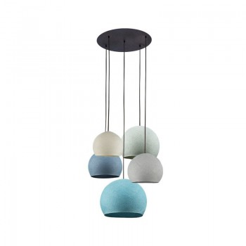 Lámpara de techo 5 cúpulas marfil-gris perla-vaquera-azul-aqua - Plafonnier 5 - La Case de Cousin Paul