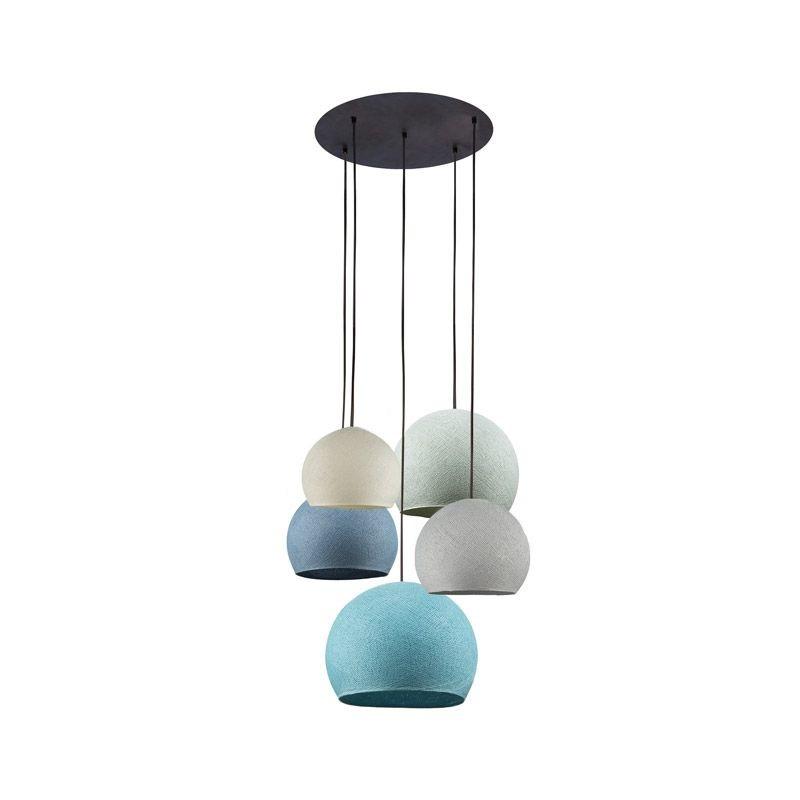 Lámpara de techo 5 cúpulas marfil-gris perla-vaquera-azul-aqua - Lámpara de techo 5 - La Case de Cousin Paul