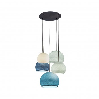 Deckenaufhängung 5 Kuppeln elfenbein-perlgrau-denim-azurblau-aqua - Deckenleuchte 5 - La Case de Cousin Paul