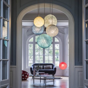 Plafoniera 5 sfere avorio-grigio perla-denim-azzurro-acqua - Plafoniera 5 - La Case de Cousin Paul