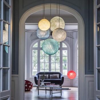 Plafonnier 5 anthracite - globes ivoire-perle-denim-azur-aqua - Plafonnier 5 - La Case de Cousin Paul