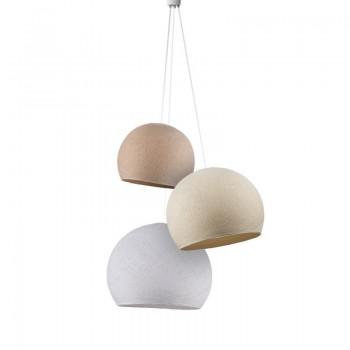Lampadario cupole lino-ecru-bianco -  Tripla sospensione - La Case de Cousin Paul