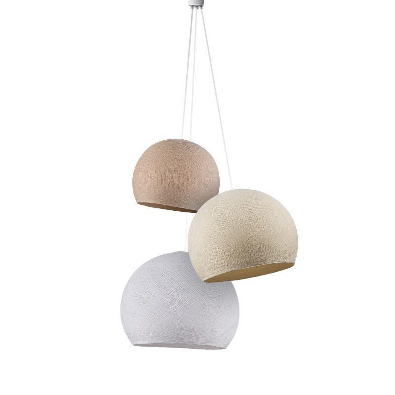 Triple lighting linen-ecru-white cupolas - Triple lighting - La Case de Cousin Paul