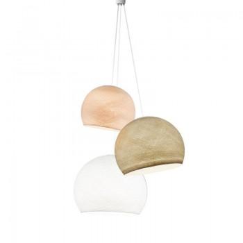 Lampadario cupole lino-ecru-bianco - Lampadario triplo - La Case de Cousin Paul