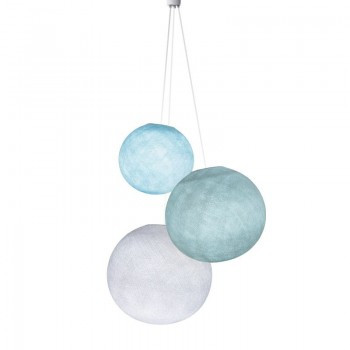 Dreifache Leuchte kugeln himmelblau-azurblau-weiβ - Hängelampe dreistrahlig - La Case de Cousin Paul