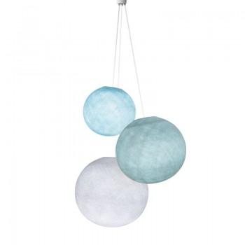 Driedubbele lamp ballampen hemelsblauw-azuurblauw-wit - Driedubbele lamp - La Case de Cousin Paul