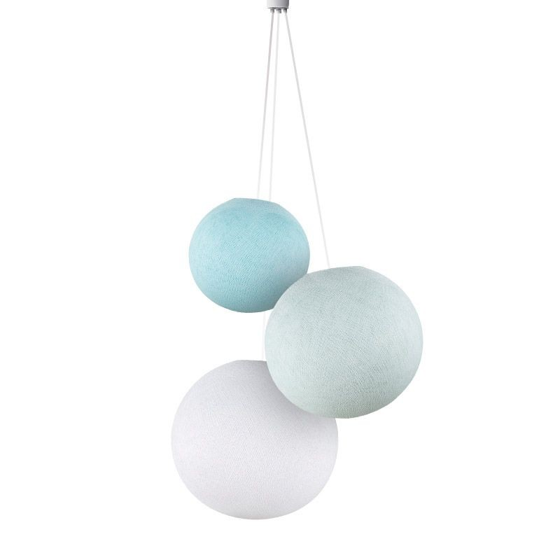 Suspension 3 globes ciel-azur-blanc - Suspension triple - La Case de Cousin Paul
