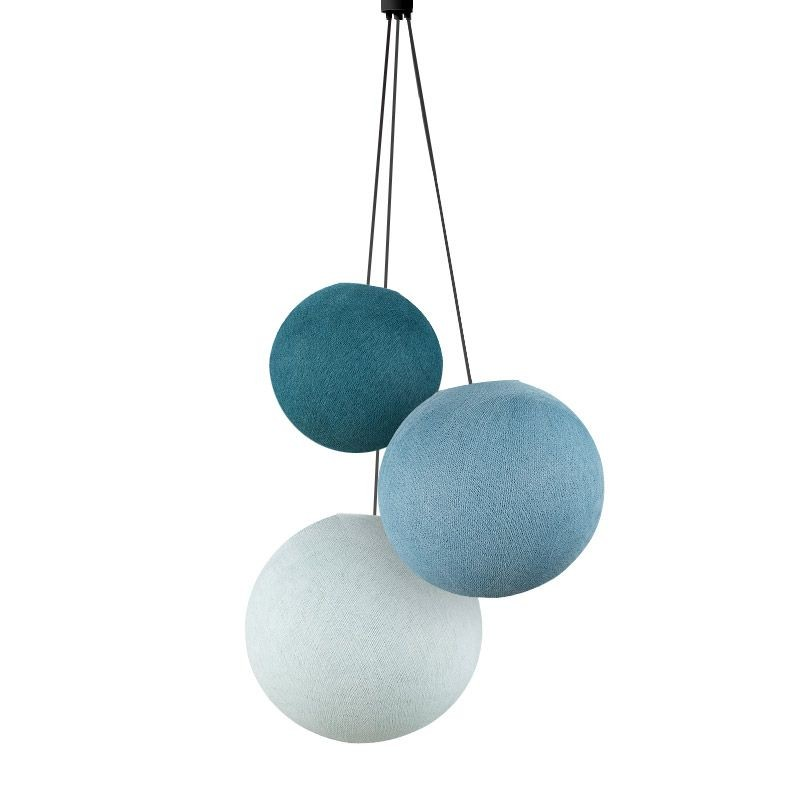 Pack suspension 3 globes bleu canard-denim-azur