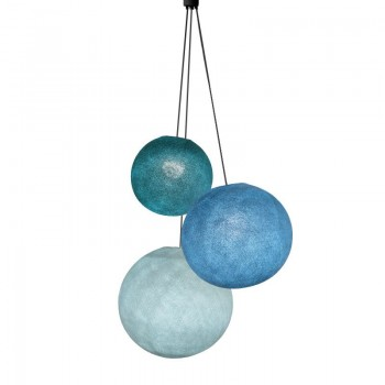 Suspension 3 globes bleu canard-denim-azur - Suspension triple - La Case de Cousin Paul