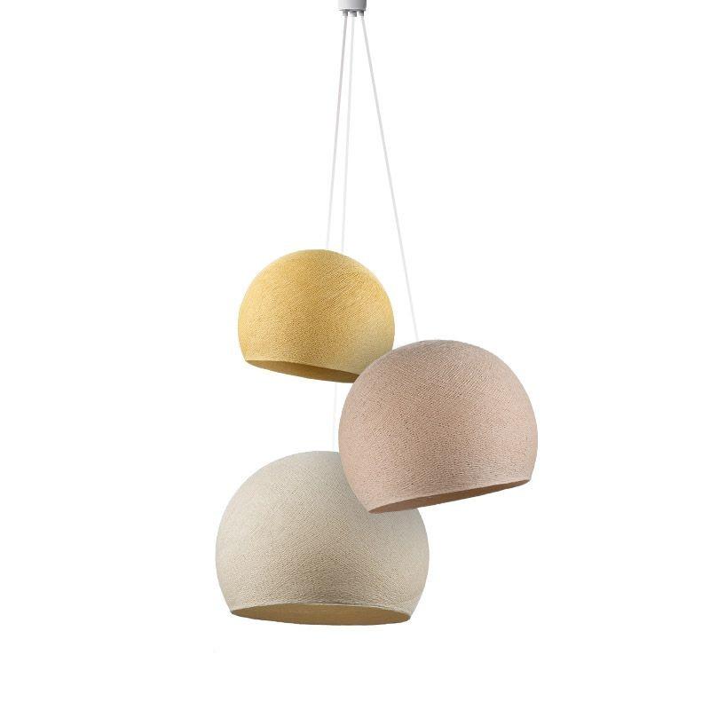 Dreifache Leuchte Kuppel Senfgelb-Leinen-Ekrü - Hängelampe dreistrahlig - La Case de Cousin Paul