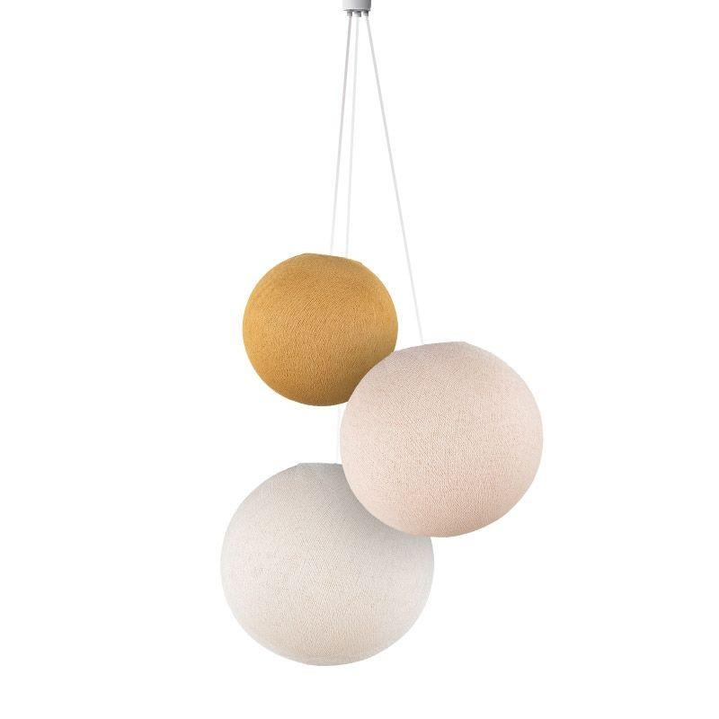 Lampadario sfere senape-lino-ecru - Lampadario triplo - La Case de Cousin Paul
