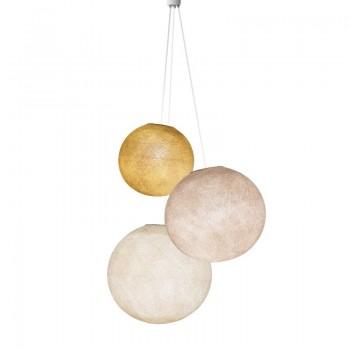Driedubbele lamp ballampen mosterd-leinen-ecru - Driedubbele lamp - La Case de Cousin Paul