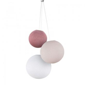 Lampadario sfere rosa antico-confetto-bianco -  Tripla sospensione - La Case de Cousin Paul