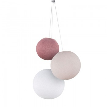 Lampadario sfere rosa antico-confetto-bianco - Lampadario triplo - La Case de Cousin Paul