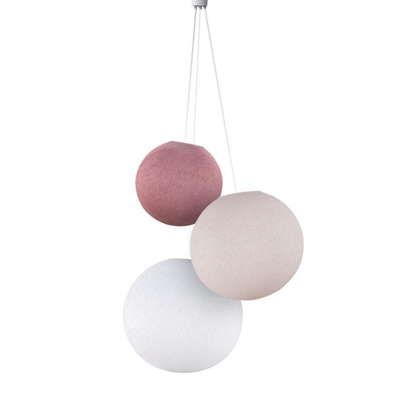 Suspension 3 globes vieux rose-dragée-blanc - Suspension triple - La Case de Cousin Paul