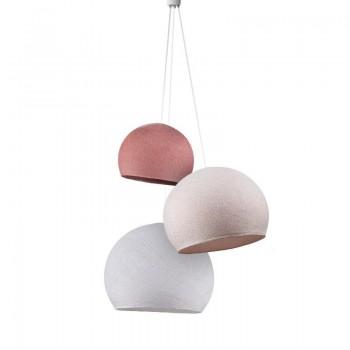 Lampadario cupole rosa antico-confetto-bianco -  Tripla sospensione - La Case de Cousin Paul