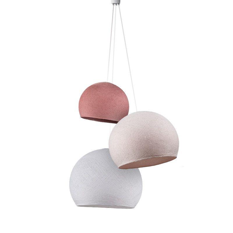 Driedubbele lamp koepellampen oudroze-dragee-wit - Driedubbele lamp - La Case de Cousin Paul