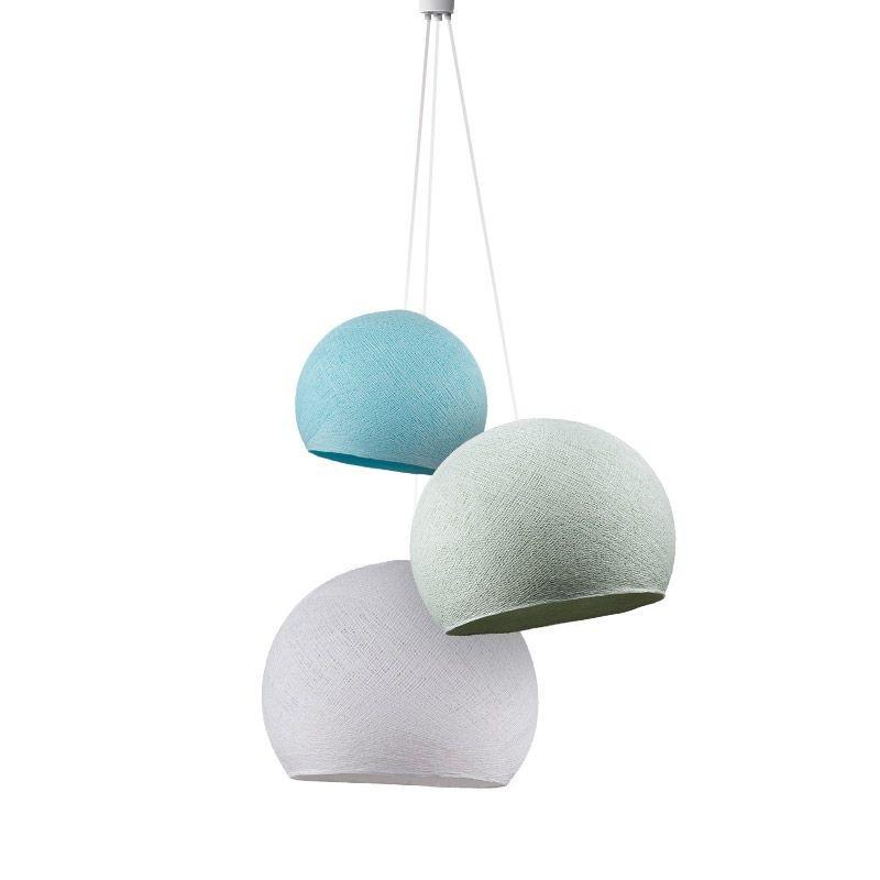 Dreifache Leuchte kuppeln himmelblau-azurblau-weiβ - Hängelampe dreistrahlig - La Case de Cousin Paul