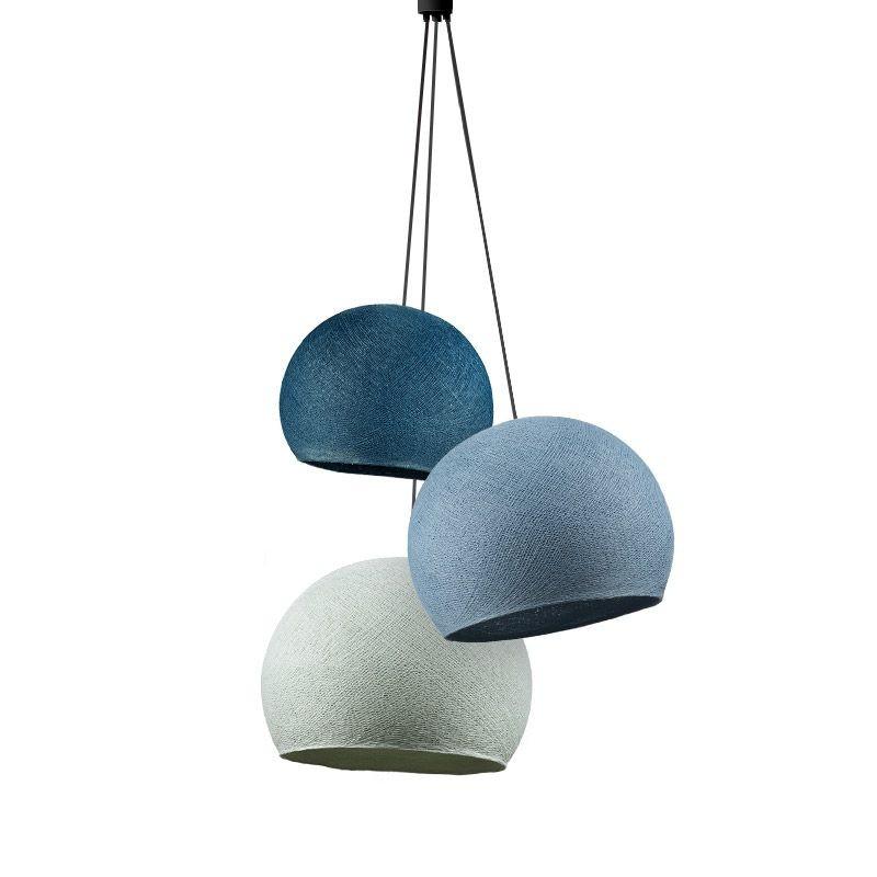 Dreifache Leuchte kuppeln entenblau-denim-azurblau - Hängelampe dreistrahlig - La Case de Cousin Paul