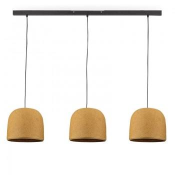 Rail gris anthracite 3 cloches moutarde - Luminaire sur rail - La Case de Cousin Paul