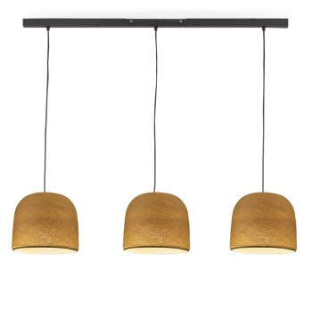 Rail gris anthracite 3 cloches moutarde - Luminaire sur rail - La Case de Cousin Paul