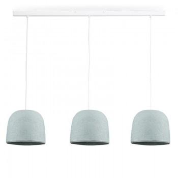 Rail blanc 3 cloches azur - Luminaire sur rail - La Case de Cousin Paul