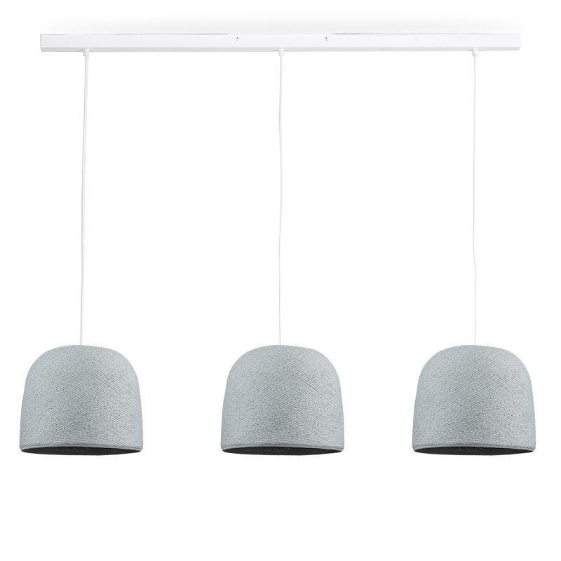 Rail bianco 3 Cloche grigio perla - The Island Pendant - La Case de Cousin Paul