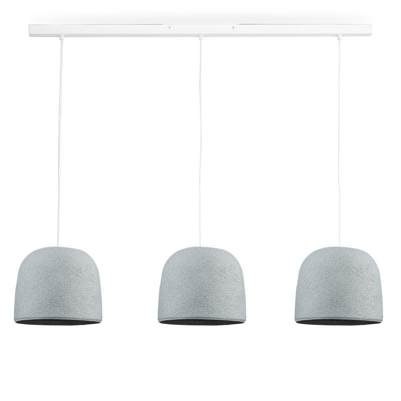 Rail blanc 3 cloches gris perle - Luminaire sur rail - La Case de Cousin Paul