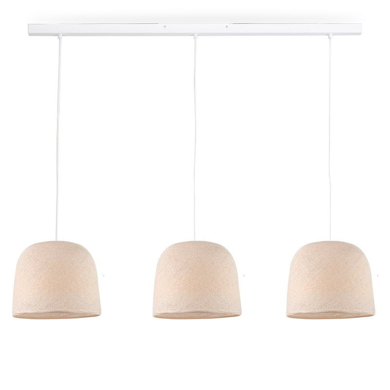 Rail white 3 ecru cloche - The Island Pendant - La Case de Cousin Paul