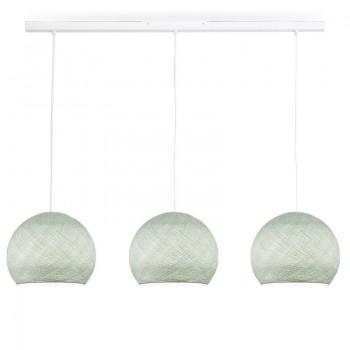 Rail blanco 3 cúpulas S gris perla - The Island Pendant - La Case de Cousin Paul