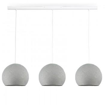 Rail blanc 3 coupoles S gris perle - Luminaire sur rail - La Case de Cousin Paul