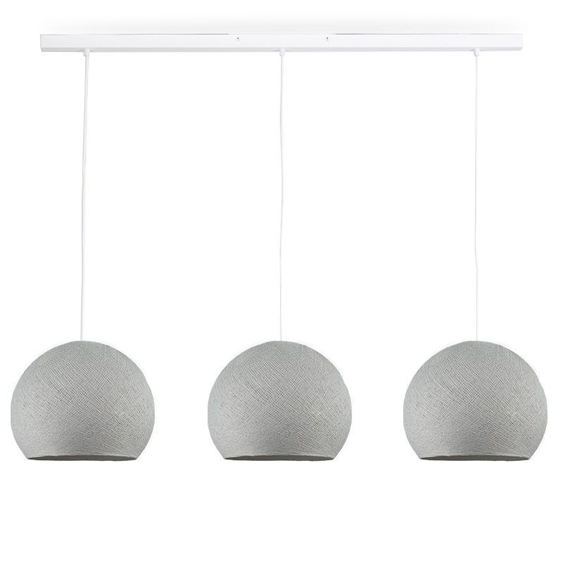 Rail white 3 pearl grey cupolas S - The Island Pendant - La Case de Cousin Paul