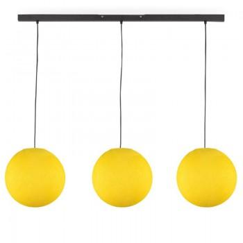 """""""Rail"""" 3 yellow globes S - The Island Pendant - La Case de Cousin Paul"""