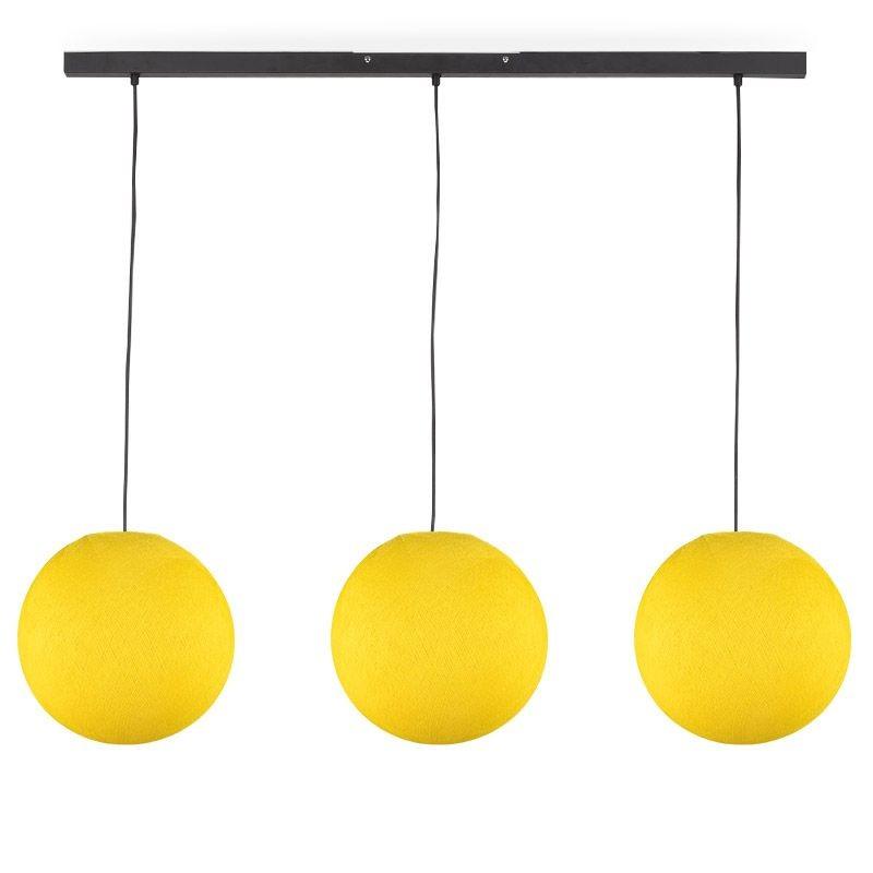 Rail gris anthracite 3 globes S jaune - Luminaire sur rail - La Case de Cousin Paul