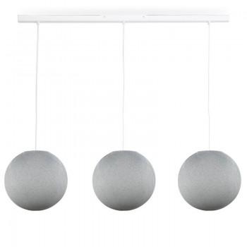 Rail blanc 3 globes S gris perle - Luminaire sur rail - La Case de Cousin Paul
