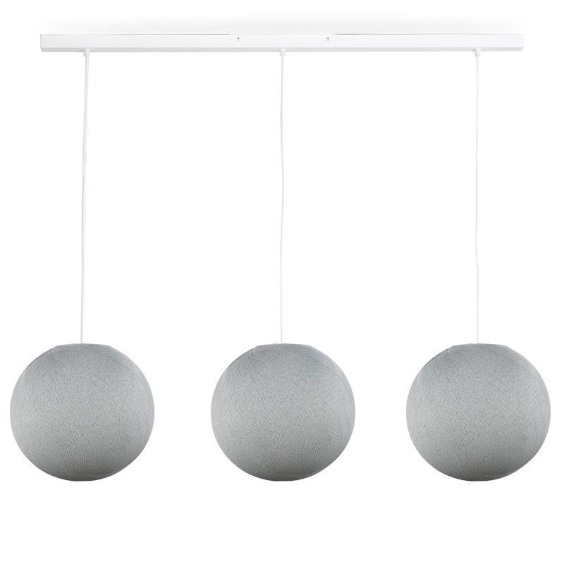 Rail bianco 3 sfere S grigio perla - The Island Pendant - La Case de Cousin Paul